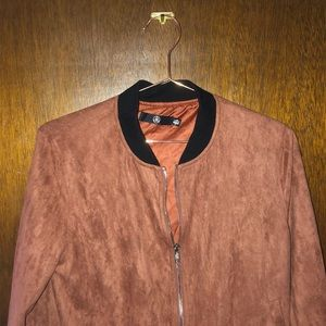 Misguided suede brown/red bomber